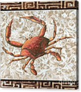 Coastal Crab Decorative Painting Greek Border Design By Madart Studios Acrylic Print