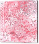 Coastal Decorative Pink Peach Floral Chevron Pattern Art Pink Whimsy By Madart Acrylic Print