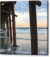 Coastal Sunset At Oceanana Fishing Pier Acrylic Print