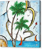 Coastal Tropical Art Contemporary Sailboat Kite Painting Whimsical Design Summer Daze By Madart Acrylic Print