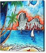 Coastal Tropical Beach Art Contemporary Painting Whimsical Design Tropical Vacation By Madart Acrylic Print
