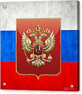 Coat Of Arms And Flag Of Russia Acrylic Print