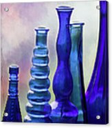 Cobalt Blue Bottles Acrylic Print