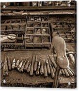 Cobblers Tools Bw Acrylic Print