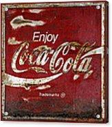 Coca Cola Red Grunge Sign Acrylic Print