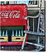 Coca Cola Vintage Cooler And Rocking Chair Acrylic Print