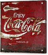 Coca Cola Wood Grunge Sign Acrylic Print