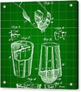 Cocktail Mixer And Strainer Patent 1902 - Green Acrylic Print