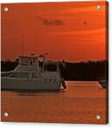 Cabin Cruiser And Red Sunset Over Harbour Acrylic Print