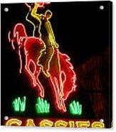Cody Wyoming Neon Lounge Sign At Night Acrylic Print