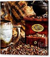 Coffee Beans And Grinder Closeup Acrylic Print