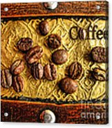 Coffee Beans And Wood Acrylic Print