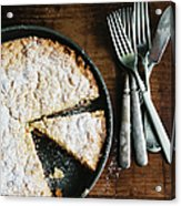 Coffee Cake In Rustic Pan With Forks Acrylic Print