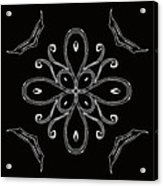 Coffee Flowers 4 Bw Ornate Medallion Acrylic Print