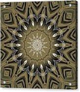 Coffee Flowers 4 Olive Ornate Medallion Acrylic Print