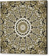 Coffee Flowers 5 Olive Ornate Medallion Acrylic Print