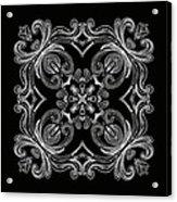Coffee Flowers 6 Bw Ornate Medallion Acrylic Print