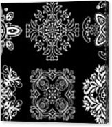 Coffee Flowers Ornate Medallions Bw 6 Peice Collage Acrylic Print