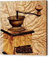 Coffee Mill And Beans In Grunge Style Acrylic Print