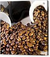 Coffee Pot Two Coffee Cup And  Coffee Beans Acrylic Print