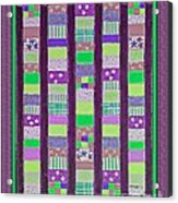 Coin Quilt - Quilt Painting - Purple And Green Patches Acrylic Print