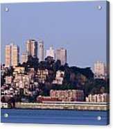 Coit Tower Sits Prominently On Top Of Telegraph Hill In San Fran Acrylic Print by Scott Lenhart