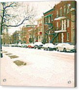 Cold Day In Montreal Pointe St Charles Art Winter Cityscene Painting After Big Snowfall Psc Cspandau Acrylic Print