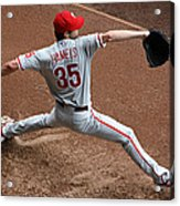 Cole Hamels - Pregame Warmup Acrylic Print by Stephen Stookey