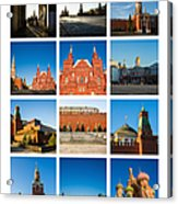 Collage - Red Square In The Morning Acrylic Print