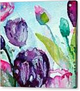 Collecting Pink And Purple Tulips Acrylic Print