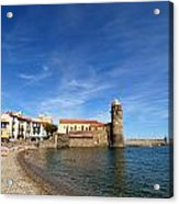 Collioure Beach And Bell Tower Acrylic Print