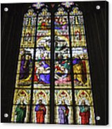 Cologne Cathedral Stained Glass Window Of The Lamentation Acrylic Print