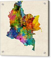 Colombia Watercolor Map Acrylic Print