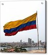 Colombian Flag Over Cartagena Acrylic Print