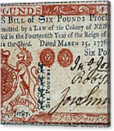 Colonial Currency, 1776 Acrylic Print