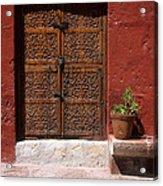 Colonial Door And Geranium Acrylic Print