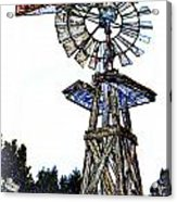 Color Drawing Antique Windmill 3005.05 Acrylic Print