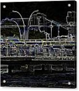 Color Pencil - Visitors On Viewing Plaza On Singapore River Next To The Merlion Acrylic Print