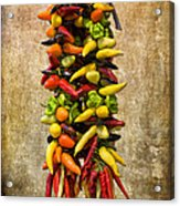 Color Peppers From Spain With Textured Background Dsc01467 Acrylic Print