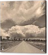 Colorado Country Road Sepia Stormin Skies Acrylic Print