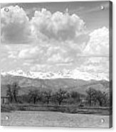 Colorado Front Range Rocky Mountains Panorama Bw Acrylic Print