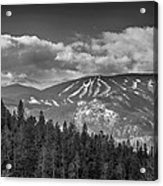 Colorado Ski Slopes In Black And White Acrylic Print
