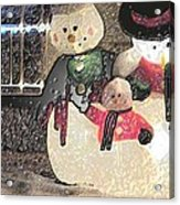 Colorado Snowman Family 2 12 2011 Acrylic Print