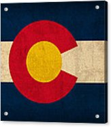 Colorado State Flag Art On Worn Canvas Acrylic Print by Design Turnpike