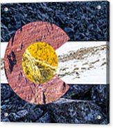 Colorado State Flag With Mountain Textures Acrylic Print by Aaron Spong