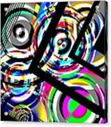 Colored Lines And Circles Art Over Black Acrylic Print by Mario Perez