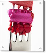 Colored Lipstick On Fork Acrylic Print