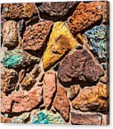Colored Stone Rock Church Wall - Cedar City - Utah Acrylic Print