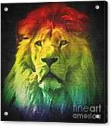 Colorful Artistic Portrait Of A Lion On Black Background  Acrylic Print