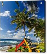 Colorful Bench On Caribbean Coast Acrylic Print